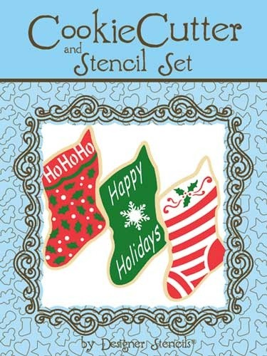 Set cortador y stencil calcetín de Navidad