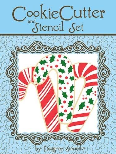 Set cortador y stencil bastón de Navidad