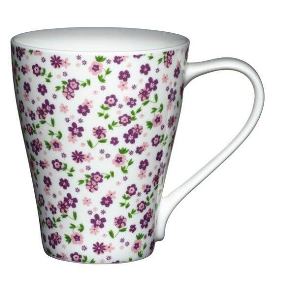 Tazón de leche florecitas lila