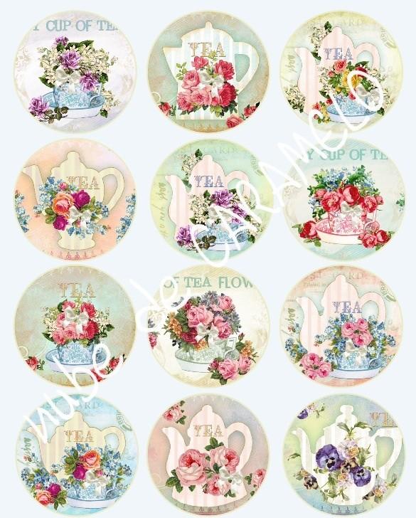 Papel de azúcar tea and flowers