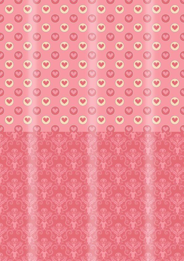 Papel corazones y victoriano rosa