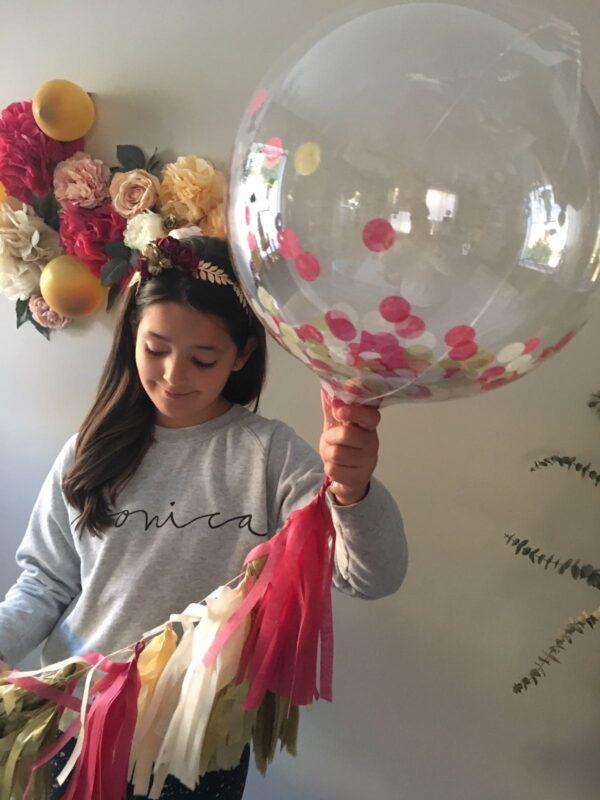 Globo burbuja con confetii 60-65 cm
