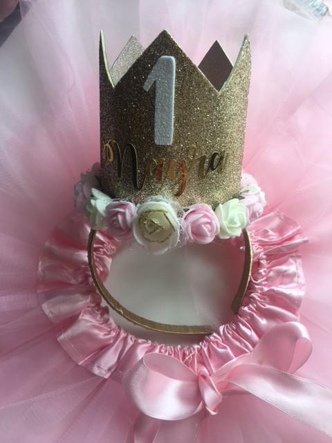 Falda de tul + corona de flores