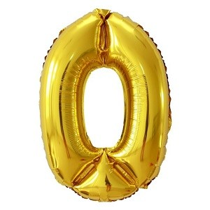 Globo número 0 gigante color oro