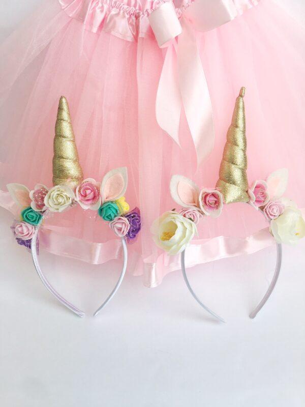 Pack diademas unicornio + falda de tul