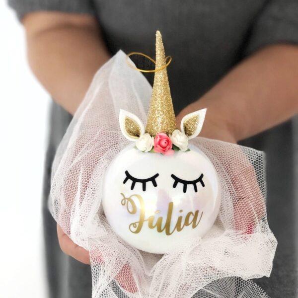 Bola de Navidad solidaria unicornio