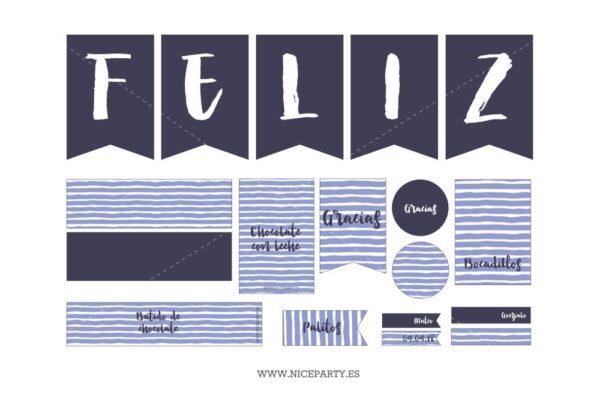 Kit de Fiesta Rayas Azules