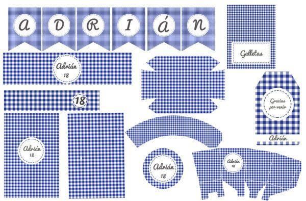 Kit Vichy Cuadros Azules Montada
