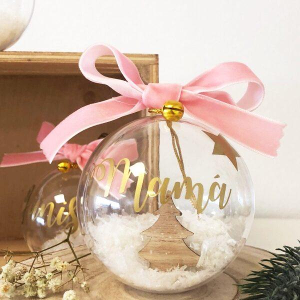 Bola de Navidad con Abeto de Madera